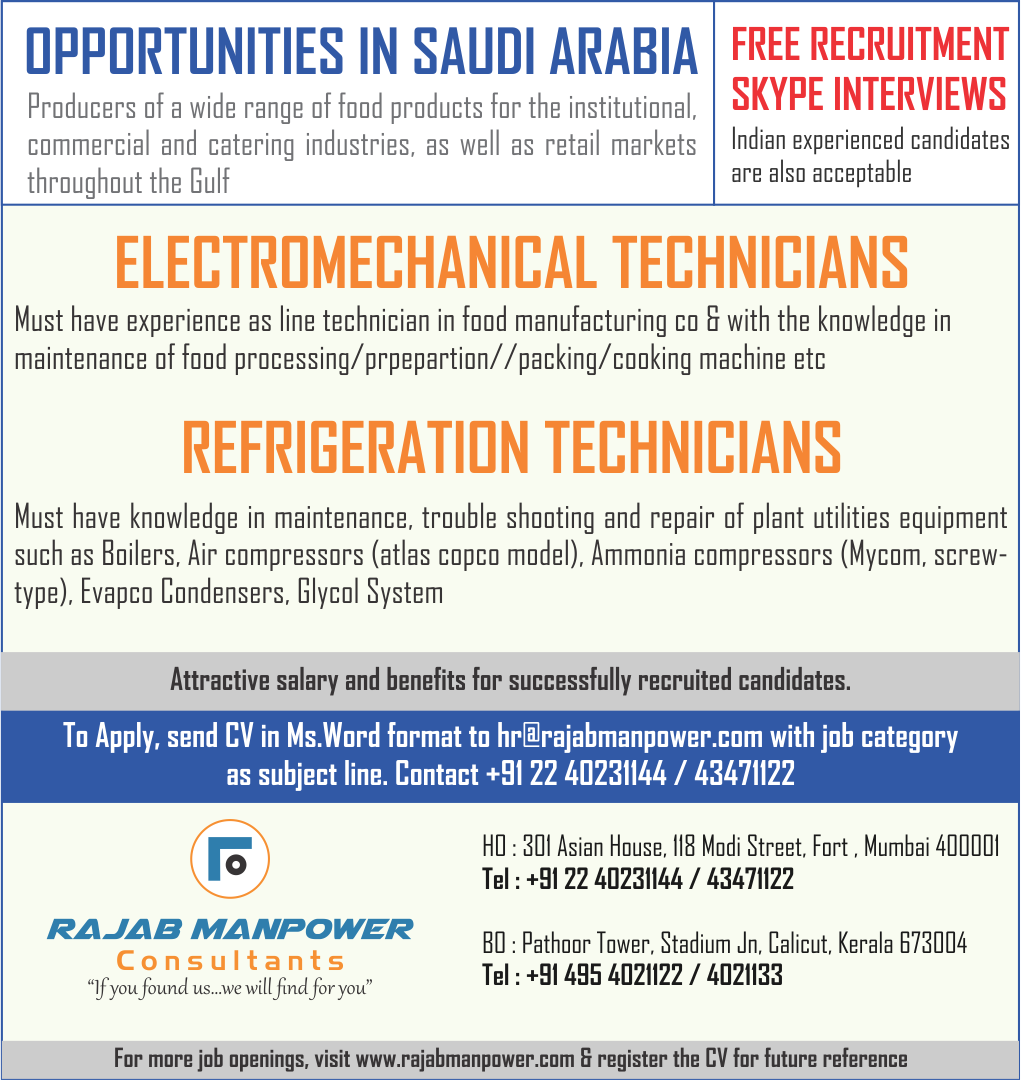 Free recruitment of Technicians for Saudi Arabia