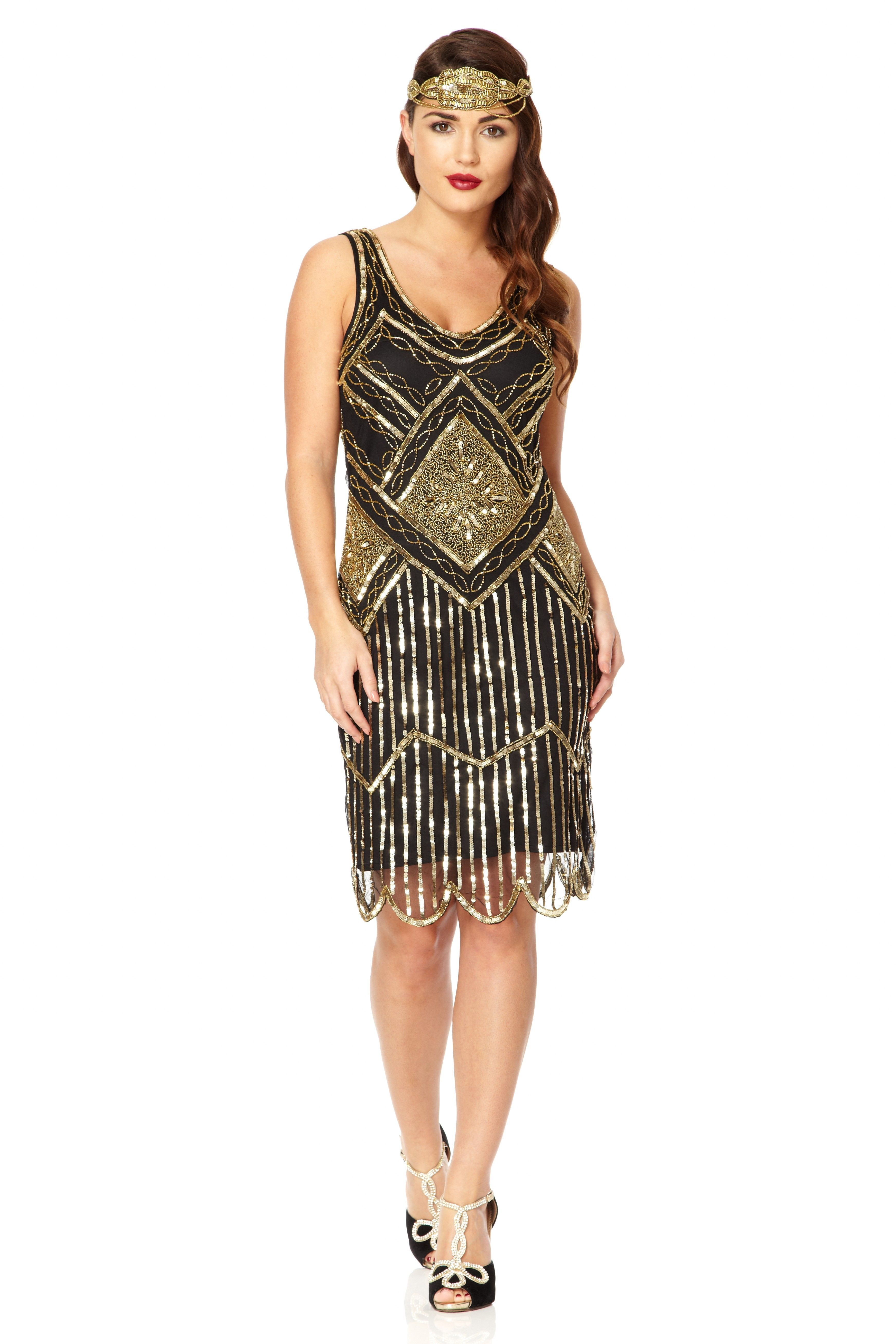 Edith Great Gatsby inspired 1920s Black Gold Flapper Dress ...