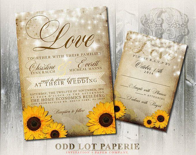 sunflower wedding invitation rustic wedding invite country wedding