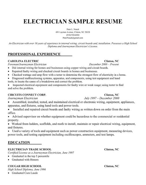 electrician resume samples sample resumes - Electrician Resume Format