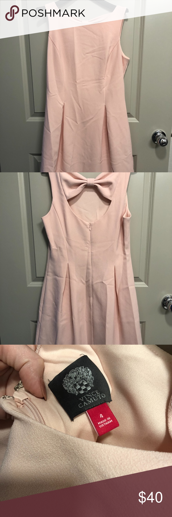Vince Camuto Pink Dress With Bow In Back This Is The Perfect Spring Wedding Ensemble Vince Camuto Knee Length Light Light Pink Dress Dress With Bow Pink Dress [ 1740 x 580 Pixel ]