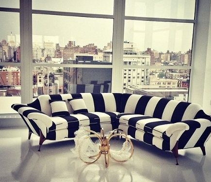Black And White Stripe Sectional Sofa In The Alice Olivia