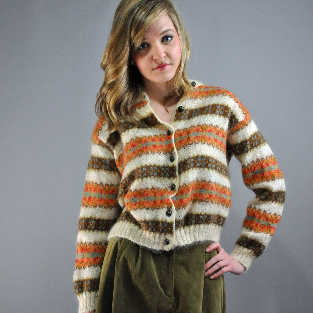 70s cardigan sweater United Colors of Benetton MOHAIR / WOOL blend ...