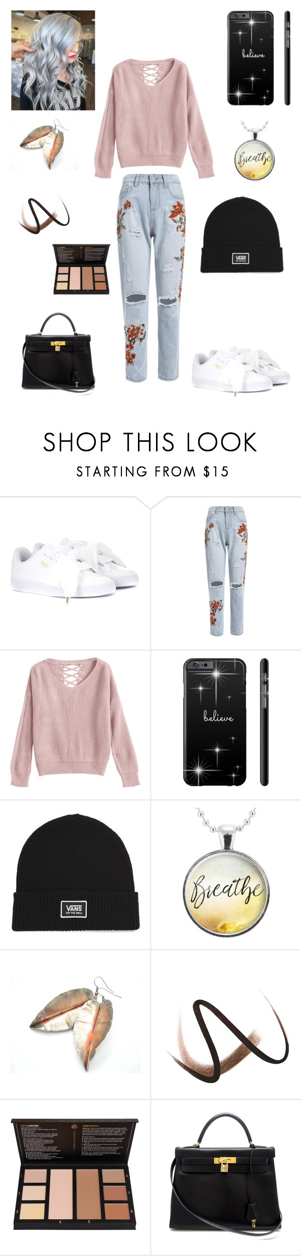 """Sans titre #2540"" by amandine-collet ❤ liked on Polyvore featuring Puma, Vans, Burberry and Hermès"