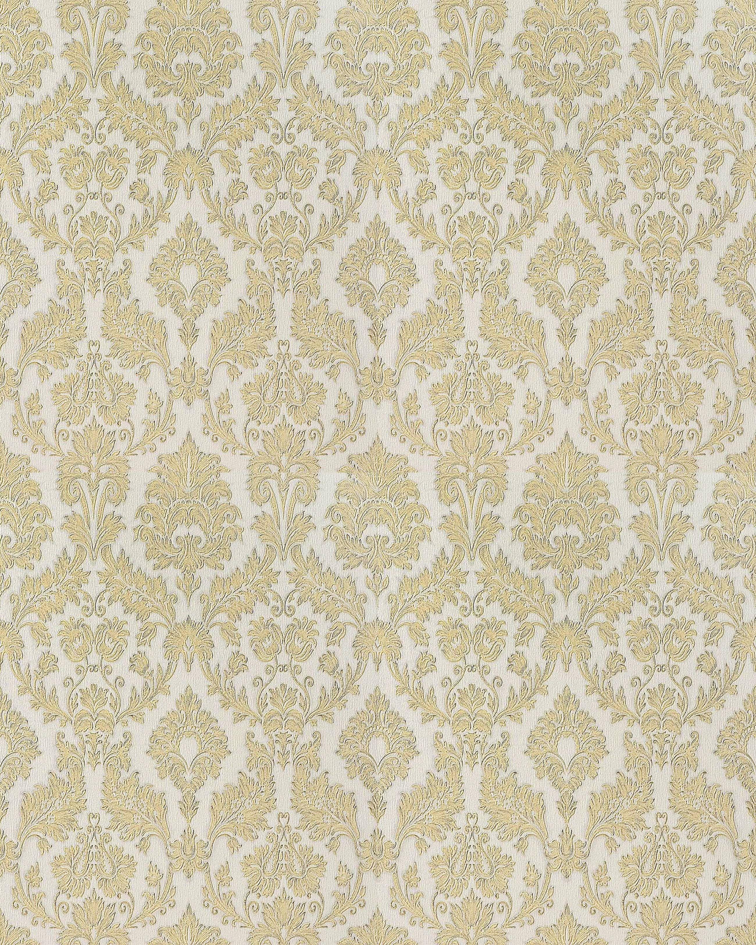 Papier Peint Style Baroque EDEM 708 30 De Couleur Champagne Or Platine Blanc Opale