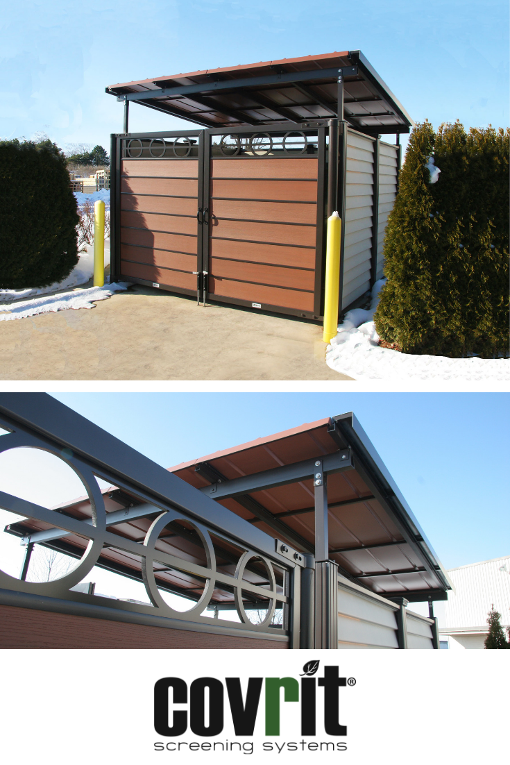Covrit Dumpster Surround With Custom Roof Attachment Metal Wall Panel Dumpster Enclosures