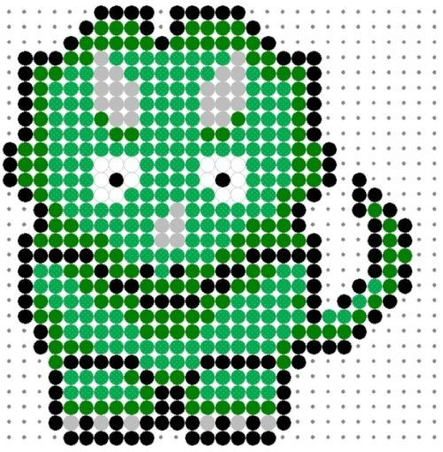 Cute Green Tricerotops Perler Bead Pattern