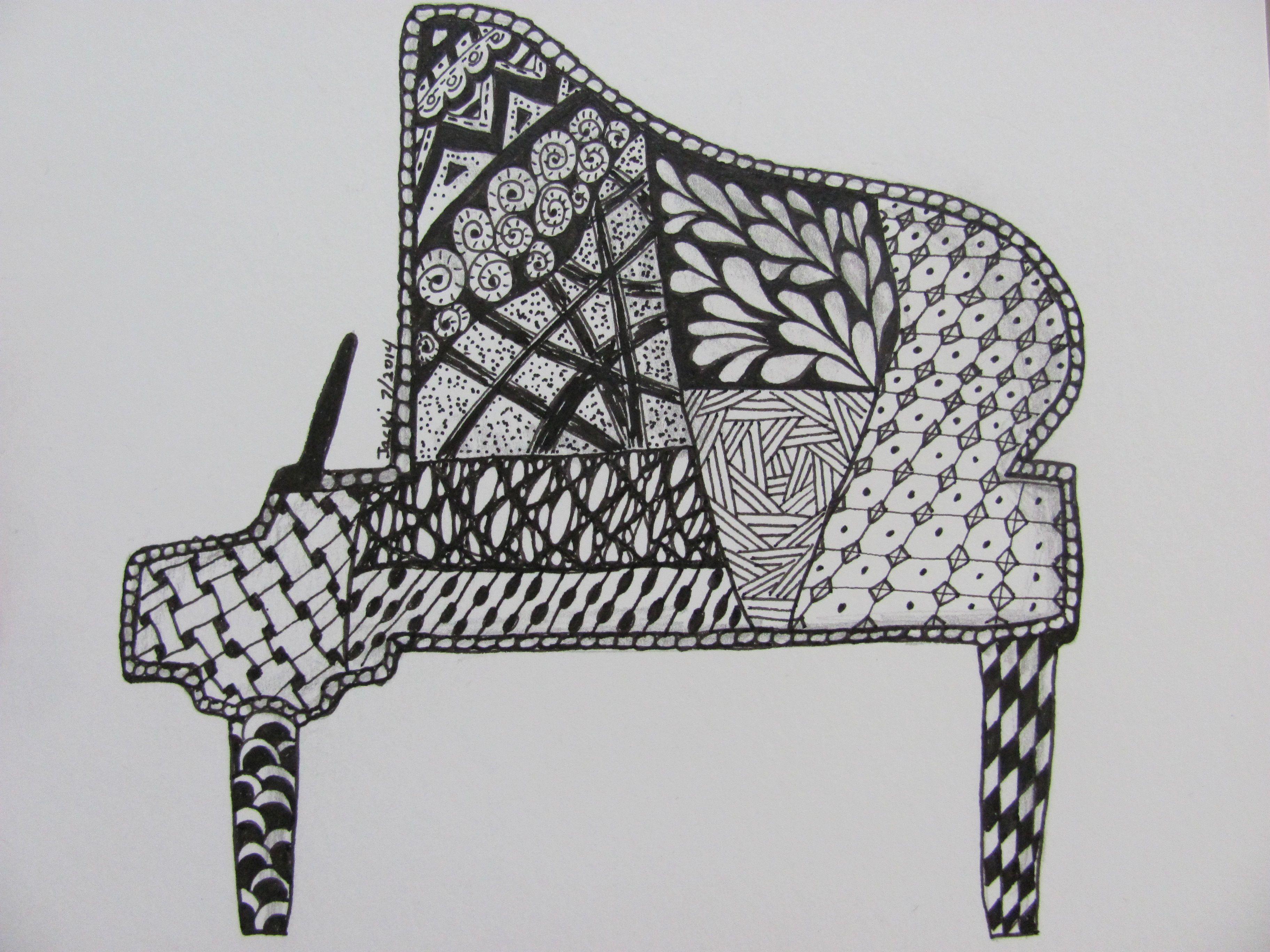 By Jacki Fry Brewer A Zentangle I Call Piano Grande I
