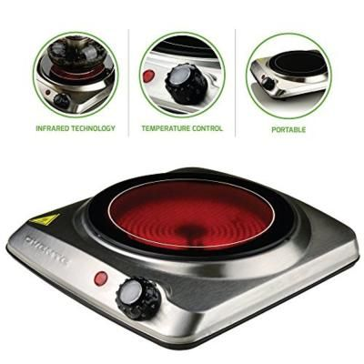 Ovente Single Burner 7 In Silver Hot Plate Ceramic Glass Stainless Steel 1000 Watt Bgi101s Electric Cooktop Electric Stove Stove