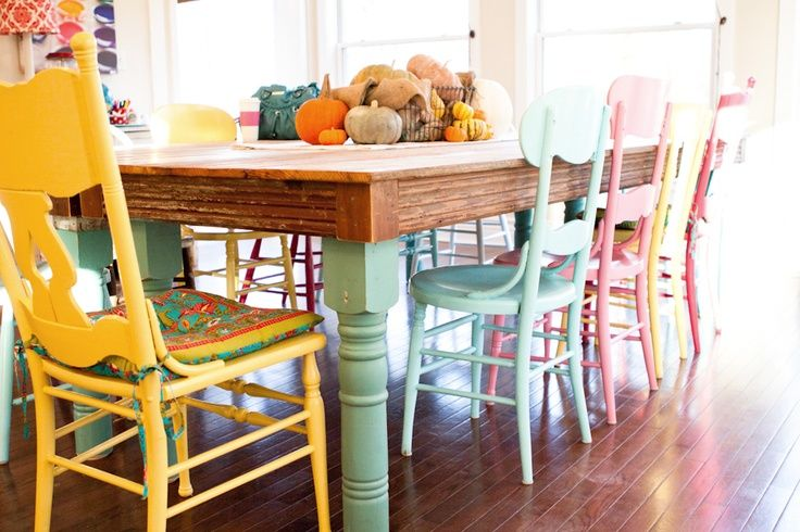 Love The Colors The Different Chairs The Rustic Table Top The Light In The Room And Everything Else Descripti Dining Room Colors Painted Dining Chairs Home