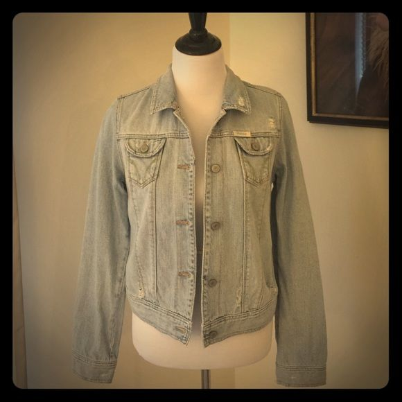 Hollister Jean Jacket Hollister Jean Jacket with Distressed look. Size large but runs small. Only worn a few times Hollister Jackets & Coats Jean Jackets