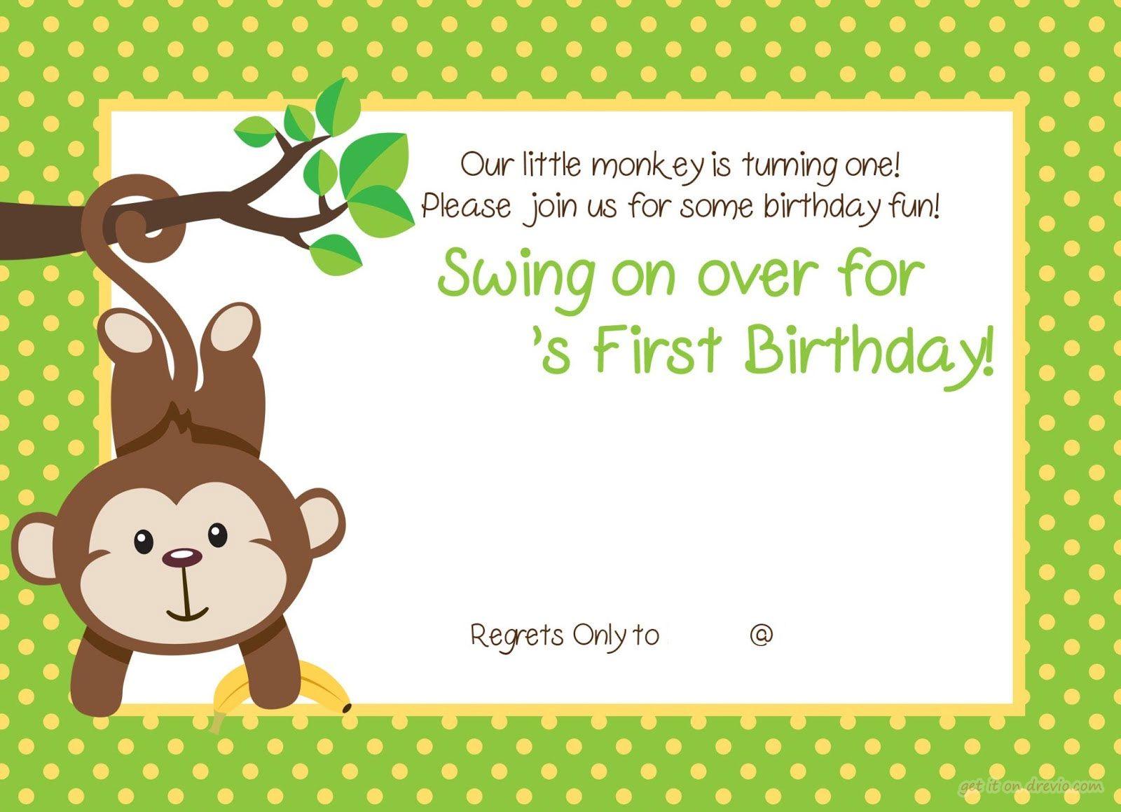 Free Printable 1st Monkey Birthday Invitation | Birthday Invitation ...