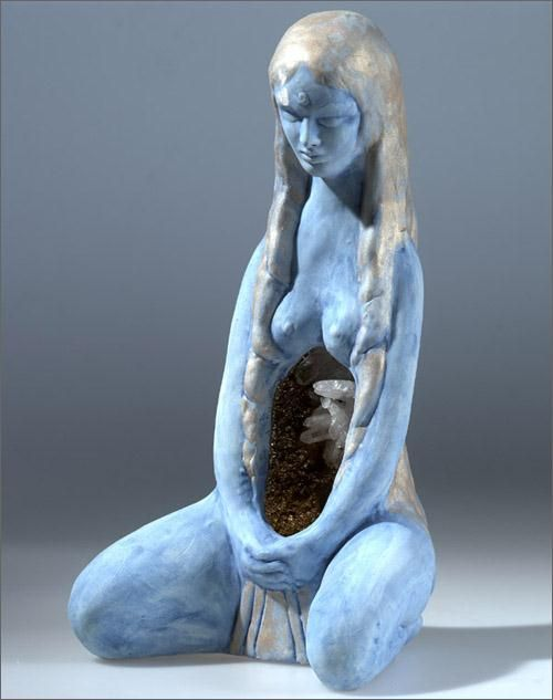 "Magickal Ritual Sacred Tools:  ""The Source"" Goddess statue, by Phillipa Bowers.  The womb of the Mother contains crystals."