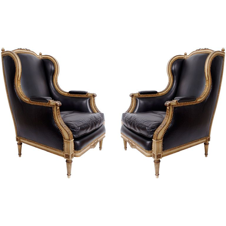Brilliant Pair Of Leather Armchairs Chairs In The Style Of Maison Squirreltailoven Fun Painted Chair Ideas Images Squirreltailovenorg