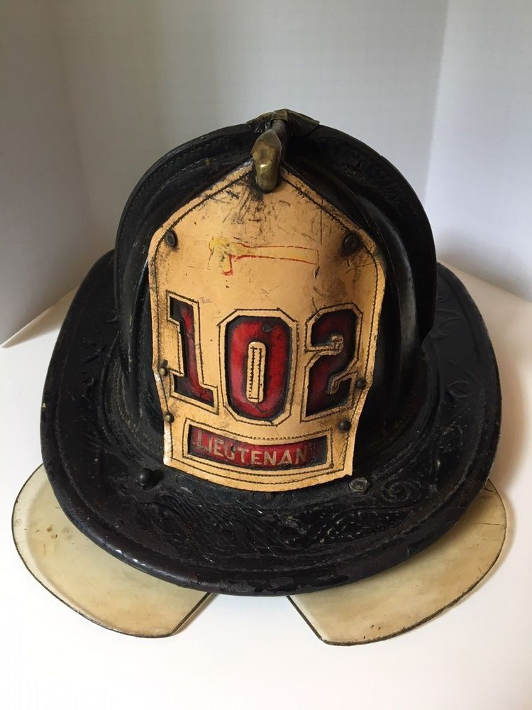 f69427f7 2 Vintage NYC FIRE DEPT NYFD CAIRNS Leather Firemens HELMETS & 1 DRESS CAP/ HAT