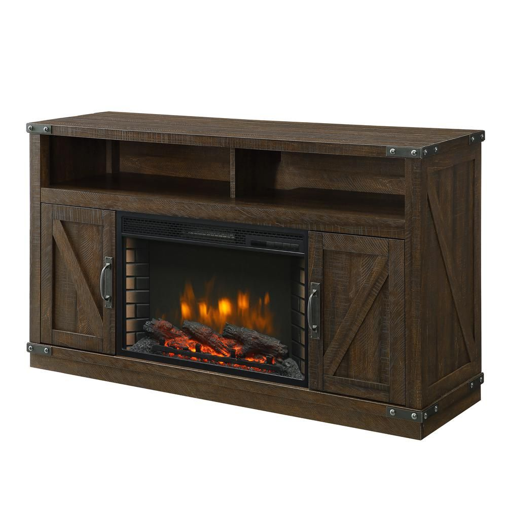 Muskoka Aberfoyle 53 In Freestanding Electric Fireplace Tv Stand In Rustic Brown 370 05 200 The Home Depot Electric Fireplace Tv Stand Fireplace Tv Stand Electric Fireplace