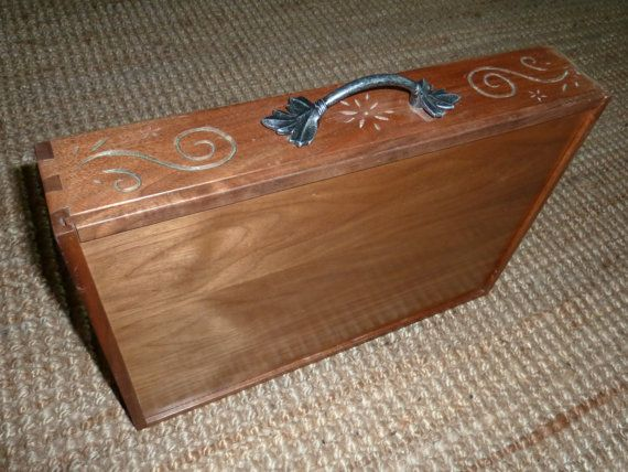 Wooden briefcase walnut attache with vine and floral chip
