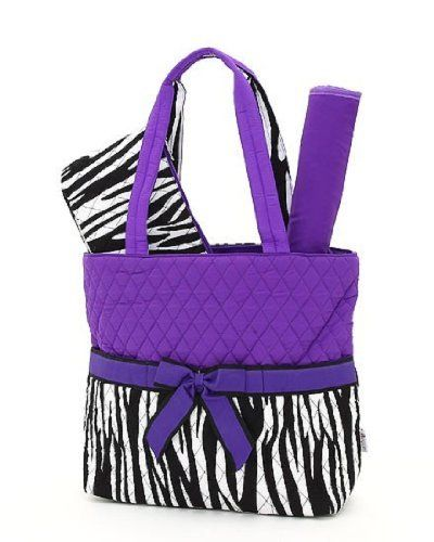 cc6eb2aeb56a Belvah Quilted Zebra Print 3pc Diaper Tote Bag (Black Purple)