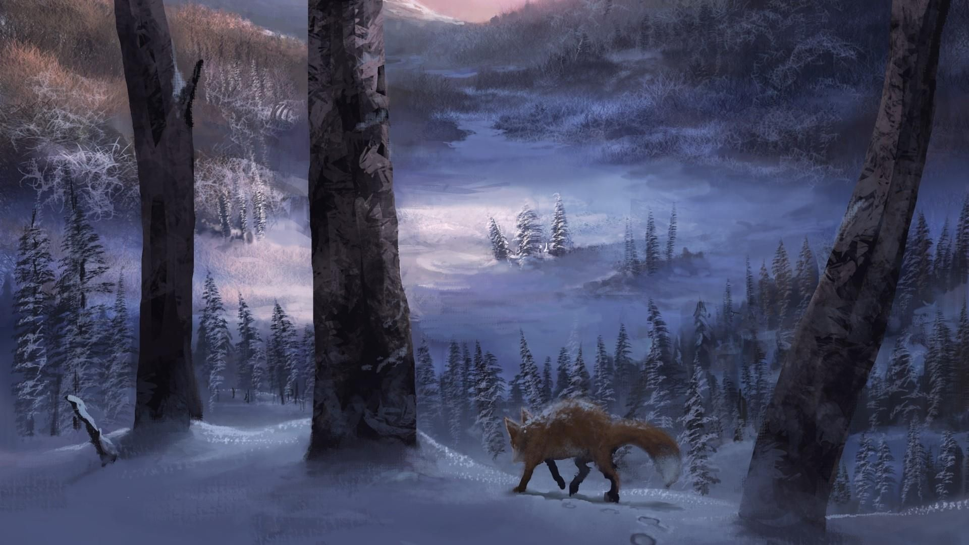 Lone Fox In The Winter Forest Hd Wallpaper Wallpaper Fantasy Landscape Winter Forest Fox Images