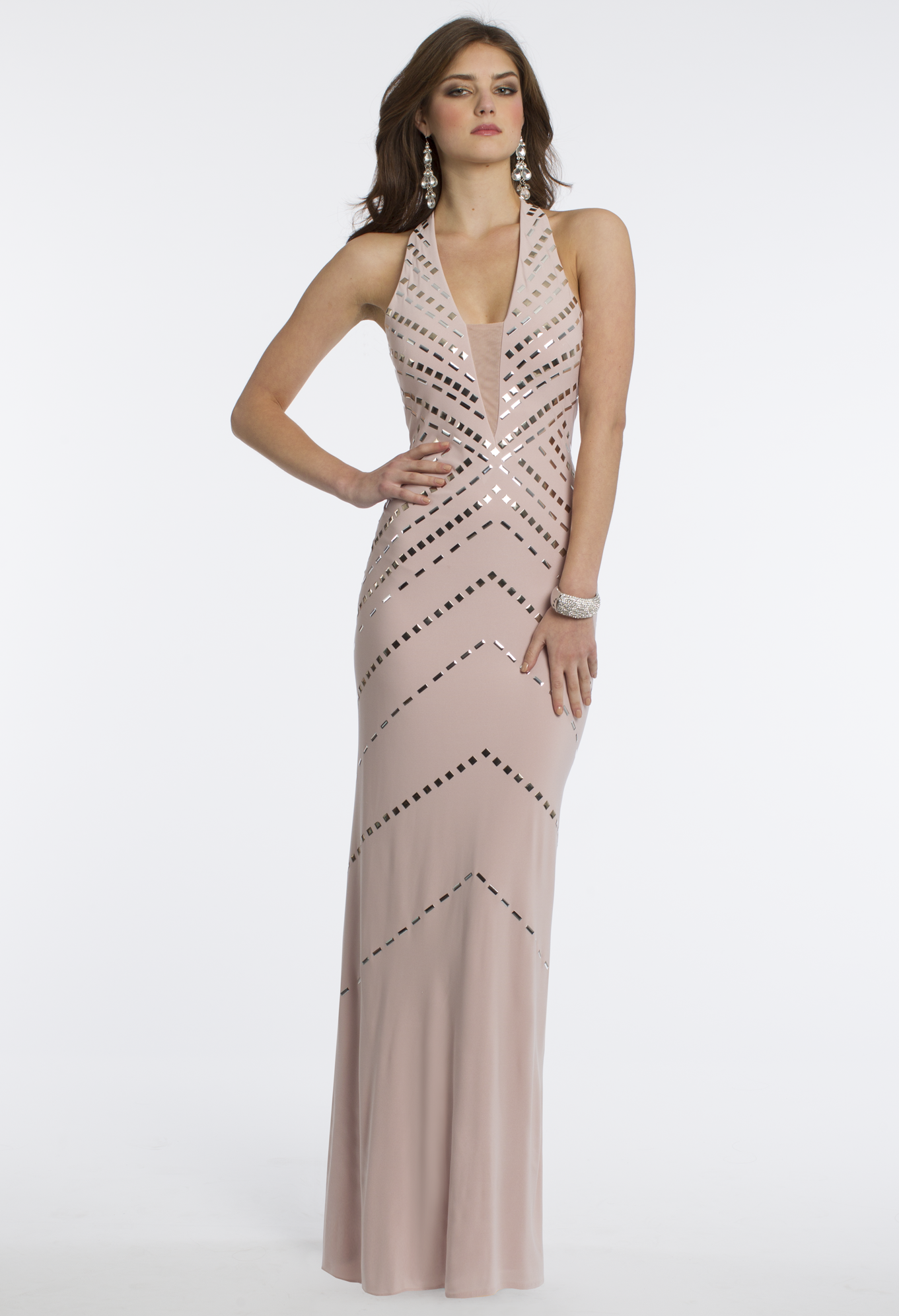 Camille La Vie Jersey Long Studded Halter Prom Dress in Blush Pink ...