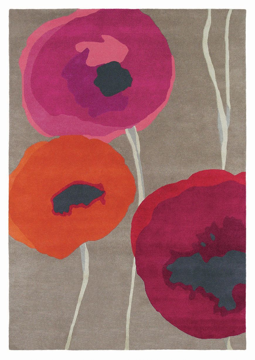 Poppies Red Orange Rug By Sanderson Red Orange 140cm
