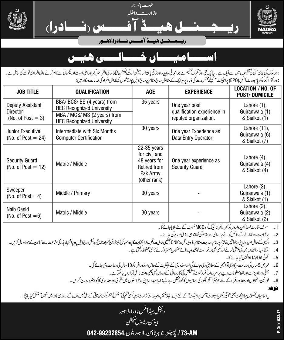 Nadra Regional Head Office Jobs  For Deputy Director Assistant