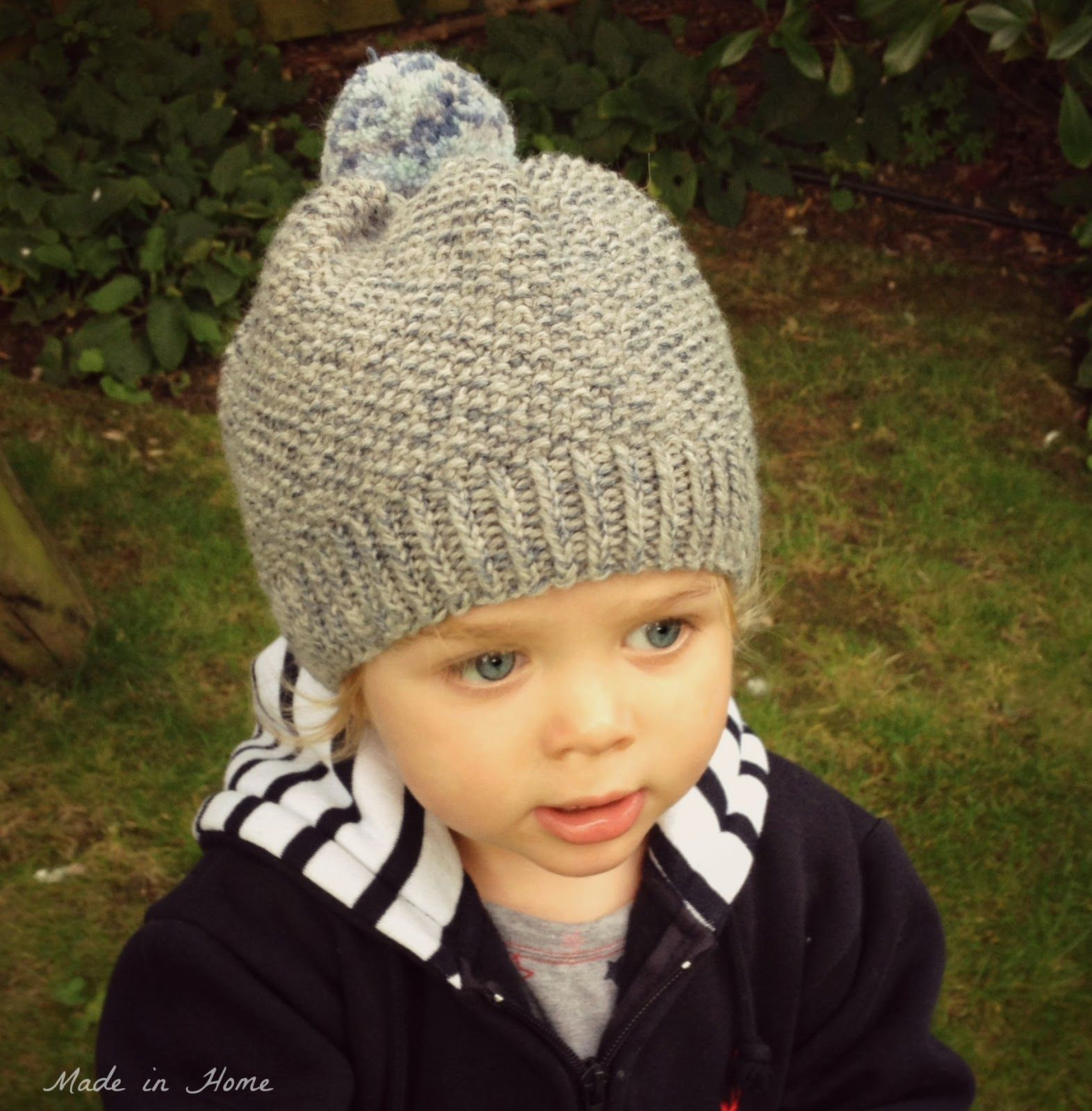Knitting Kids Hat : Made in home toddler pompom beanie hat a free pattern