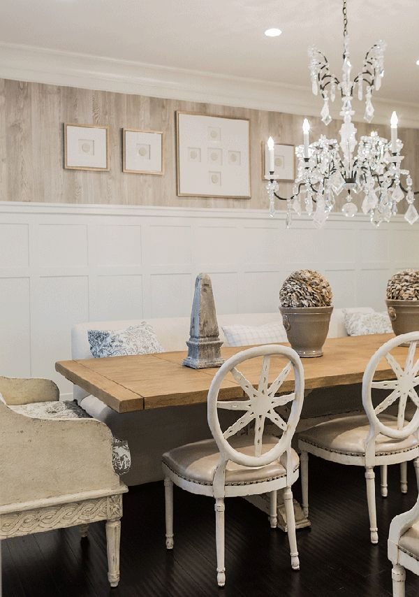 How to decorate with tall chair rails in dining room