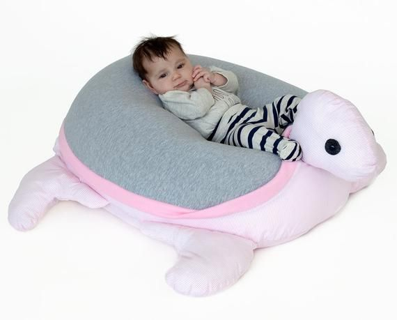 Baby girl bean bag pillow, Nursery furniture, Turtle Beanbag, grey white & pink, bean bag chair, kid