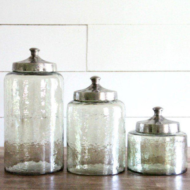 Hammered Lid Glass Canister, Set of 3 Glass canisters, Canister
