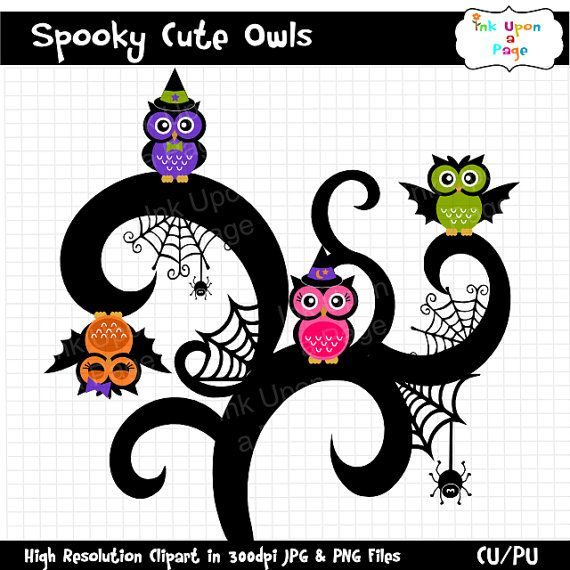 Spooky Cute Halloween Owls Clipart Set INSTANT By InkUponaPage 250