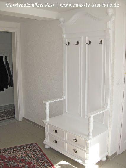 Flurgarderobe mit Schubladen und Sitzfläche - Weiß Massivholz Kiefer ...