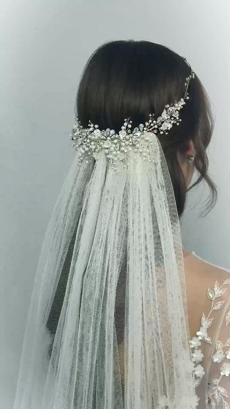 Cordelia Crystal Headpiece Pearl and Swarovski crystal blossom art deco headpiece