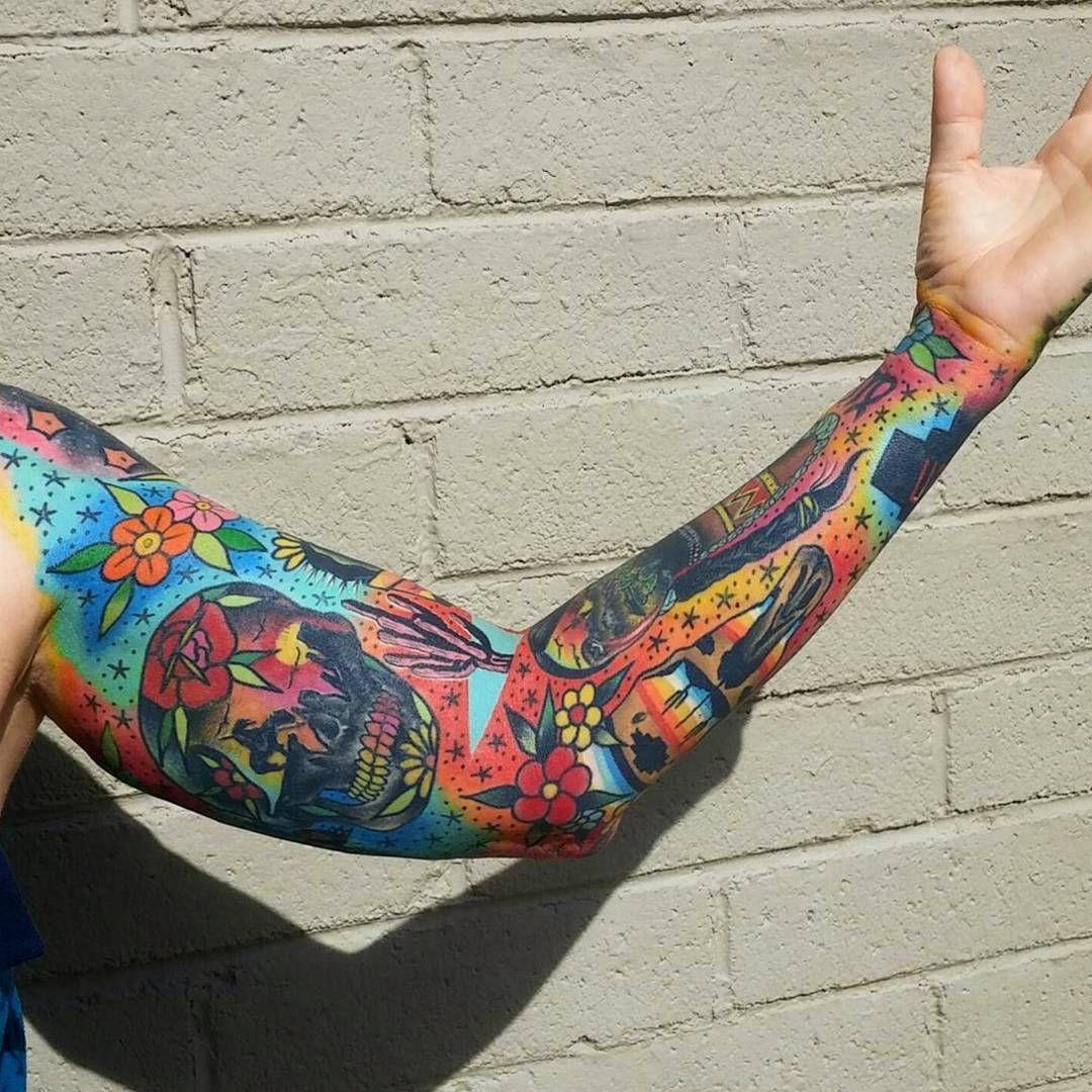Colorful sleeve tatuajes in pinterest tattoos sleeve