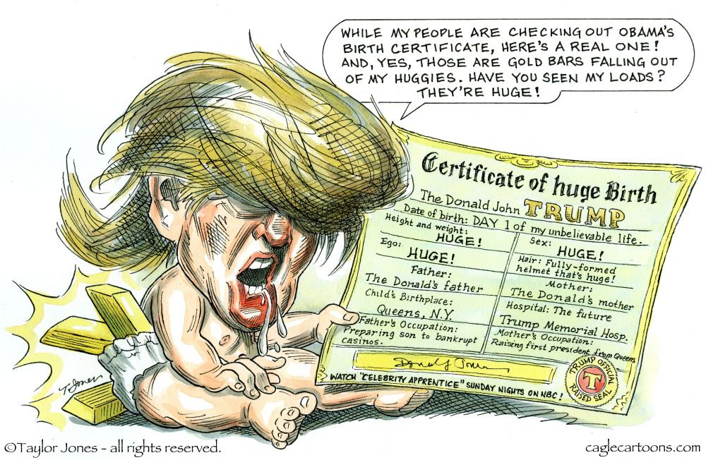Political Cartoon Us 2016 Election Donald Trump Birth Certificate