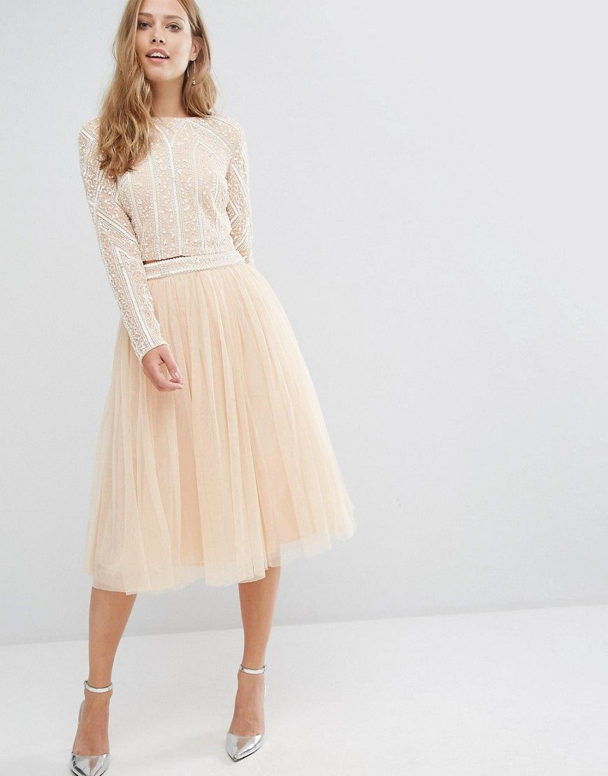 9c4e30295b Maya Tulle Midi Skirt with Embellished Waist | Gowns | Pink midi ...