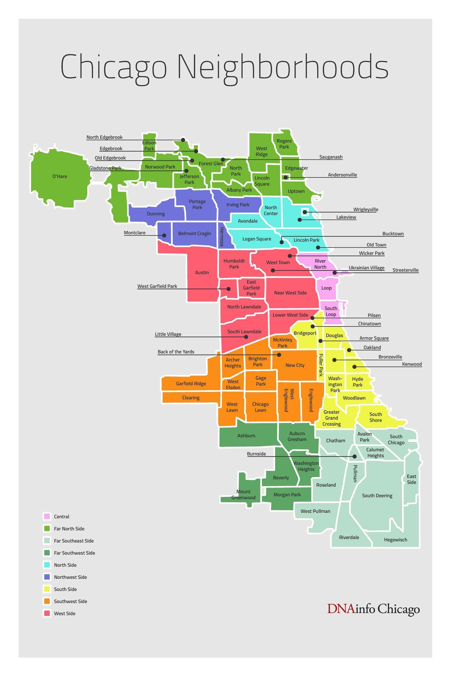 Chicago Neighborhood Map on