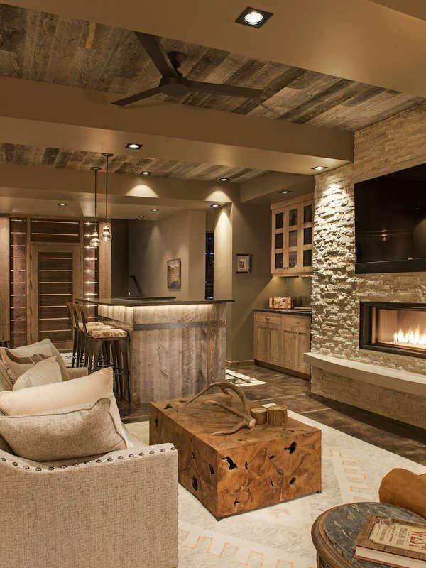 11 Breathtaking Ideas For A Wood Ceiling Basement Living Rooms Rustic Basement Basement Design Rustic basement bedroom ideas