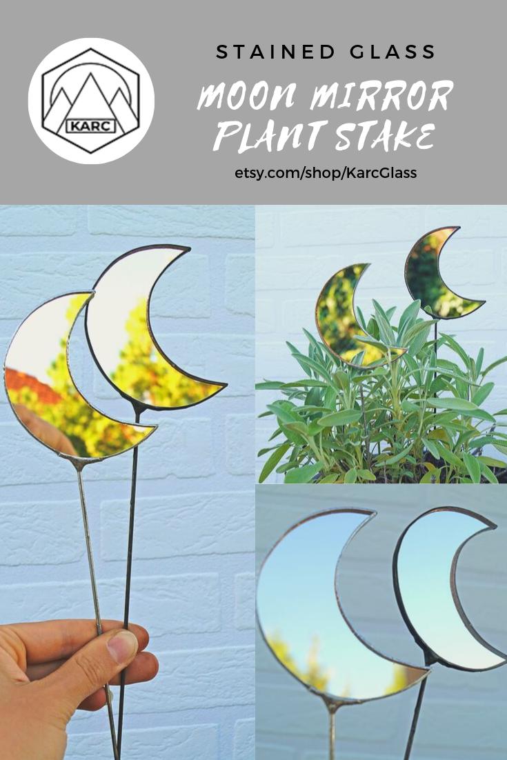 Moon Mirror Plant Stake -   16 plants Decor glass ideas