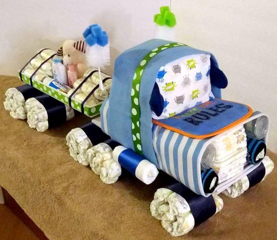 Unique Diaper Cake Semi Truck Diaper Cake Truck Diaper Etsy Diaper Cake Boy Unique Diaper Cakes Diaper Cake