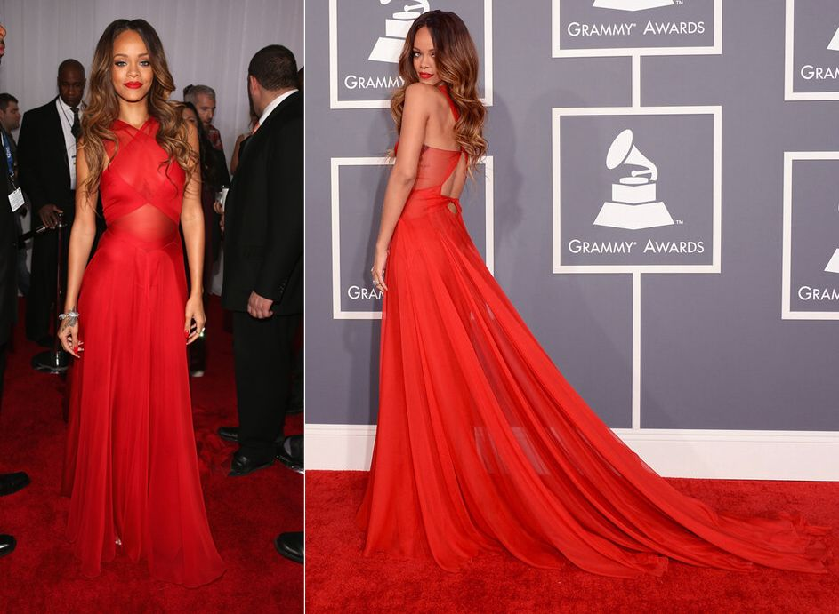 Grammys: Rihanna In Azzedine Alaia At GRAMMY Awards. STUNNING