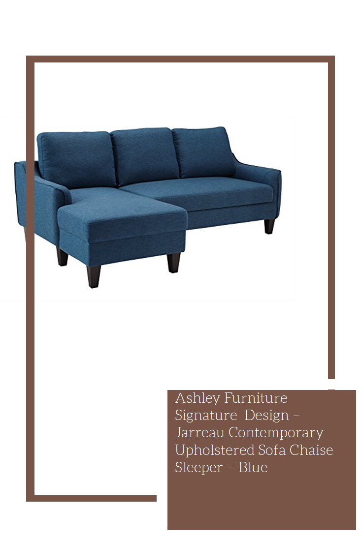 Ashley Furniture Signature Design Jarreau Contemporary Upholstered Sofa Chaise Sleeper Blue Idea Chaise Sofa Upholstered Sofa Comfortable Seating