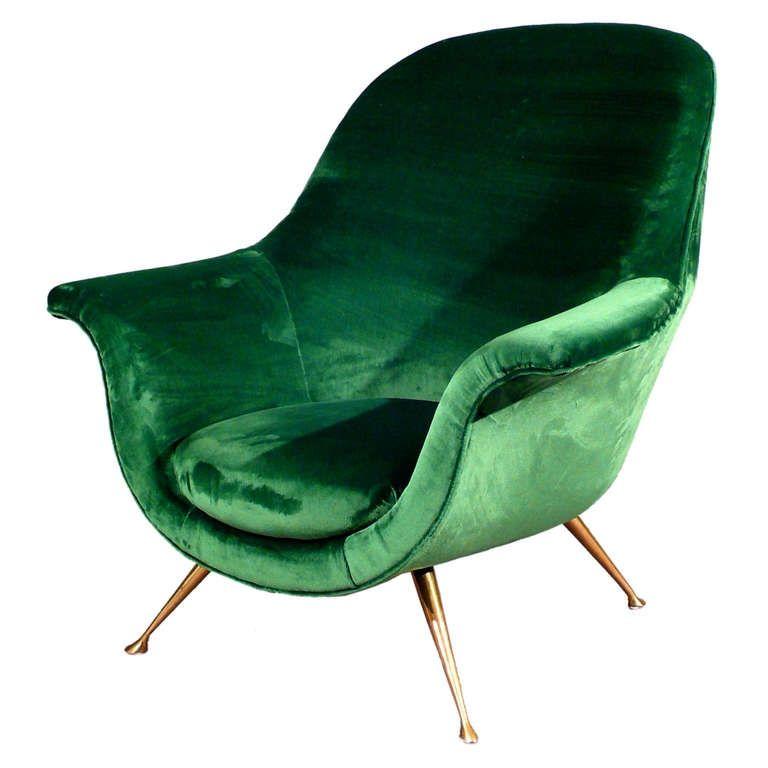 Elegant Armchair In Emerald Green Velvet 1950s From A