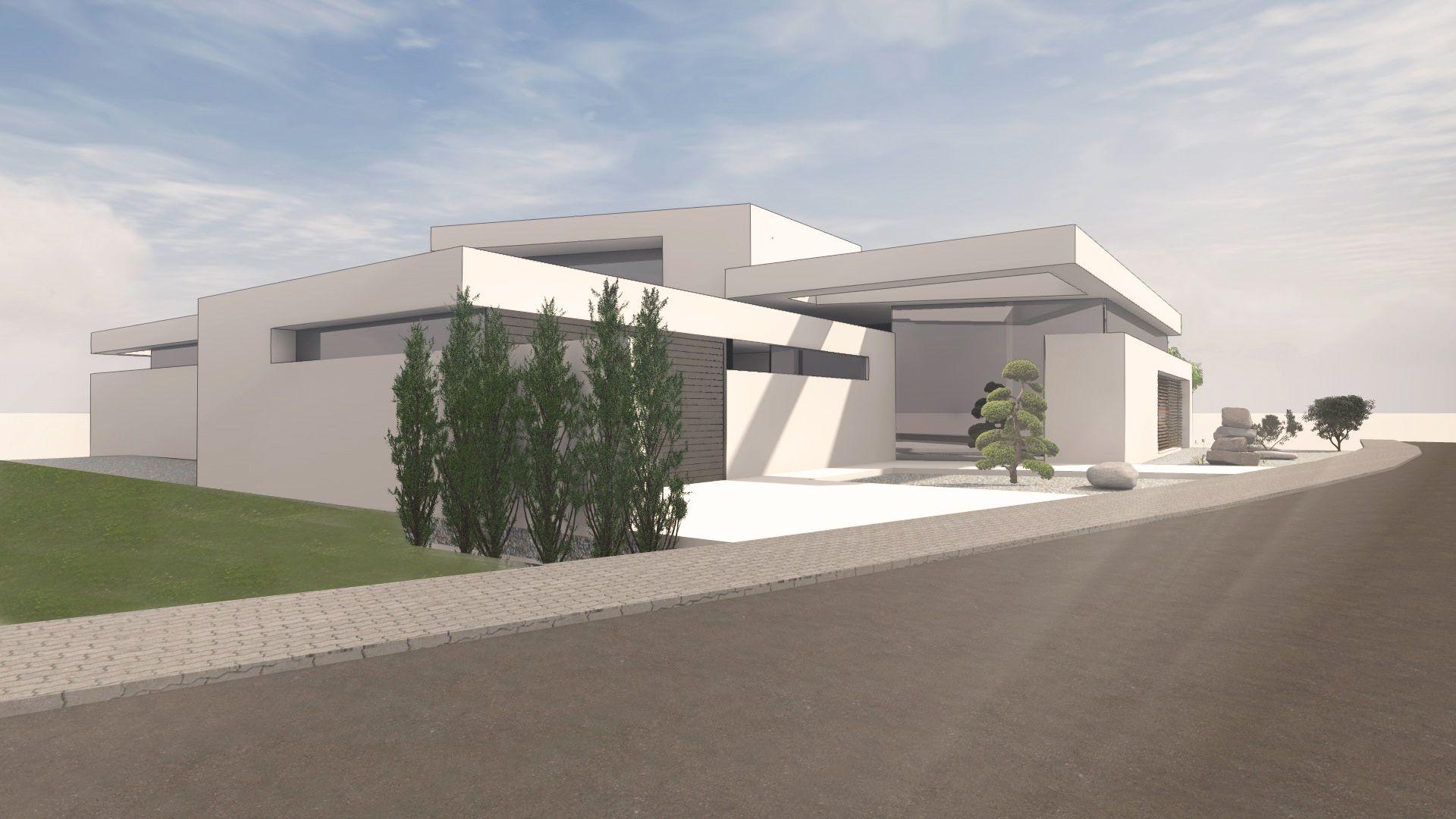 individuelles architektenhaus 1 5 geschossig in modernem design mit flachdach. Black Bedroom Furniture Sets. Home Design Ideas