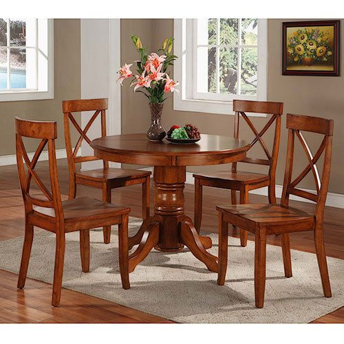 5-Piece Dining Round Table Chairs Set Pedestal Solid Hardwood Oak