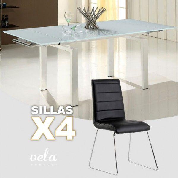mesa para comedor extensible en cristal blanco puro y sillas negras de polipiel