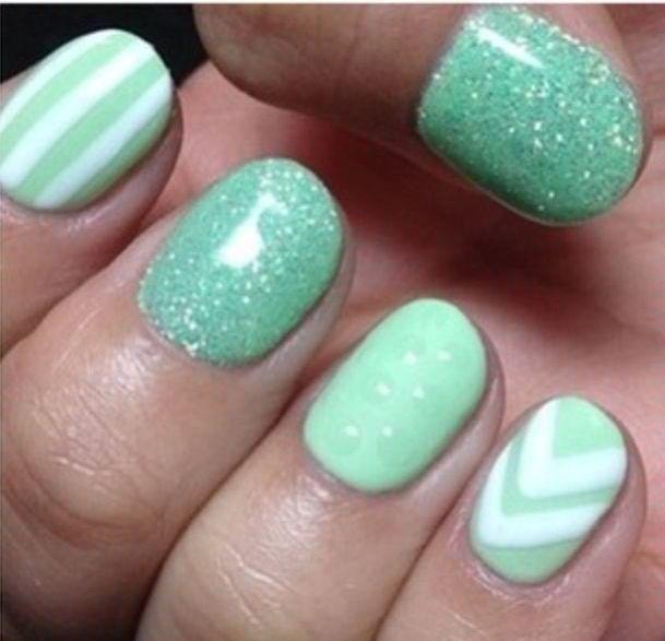 Mint Green And White Gel Nails Green Nails Mint Nails Mint Nail Designs