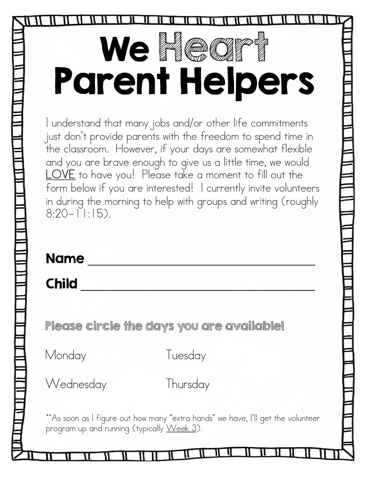 parent volunteer sign up sheet