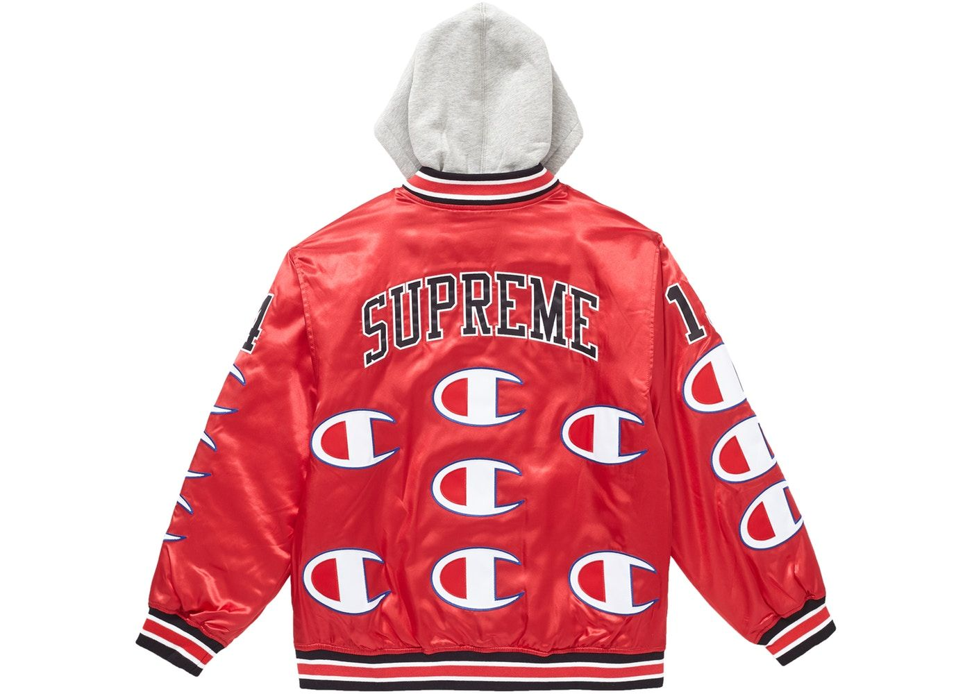 ba23aeb9 Supreme Champion Hooded Satin Varsity Jacket Red | Dope Merch ...