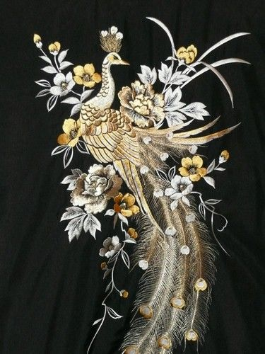 Something like this would be gorgeous on a dress... Peacock Embroidered Pillow | Overstock.com